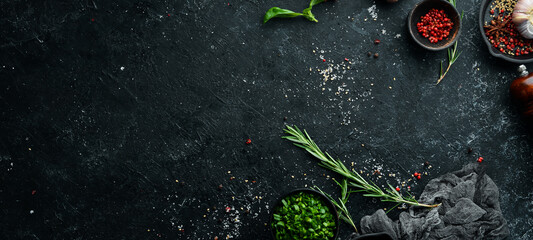 Black stone culinary banner. Top view. Rustic style.