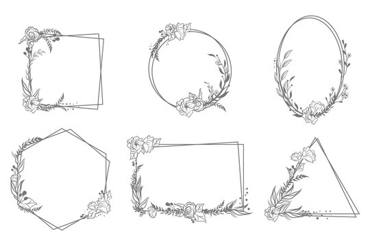 Various hand drawn floral geometric frames set. Linear elegant vintage elements for wedding invitation isolated vector illustration collection. Decoration and ornaments concept