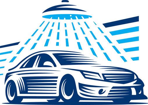 carwash logo, vector illustration of a car , blue car wash in a car wash, can be used as a logo for a car wash