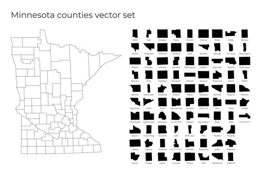 Minnesota map with shapes of regions. Blank vector map of the Us State with counties. Borders of the us state for your infographic. Vector illustration.