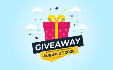 Giveaway Banner Template Design For Social Media Post. Gift Offer Banner, Giveaways Post And Winner Reward In Contest, Prize In Boxes. Vector Illustration