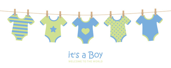 its a boy cute welcome greeting card for childbirth with hanging baby bodysuits vector illustration EPS10