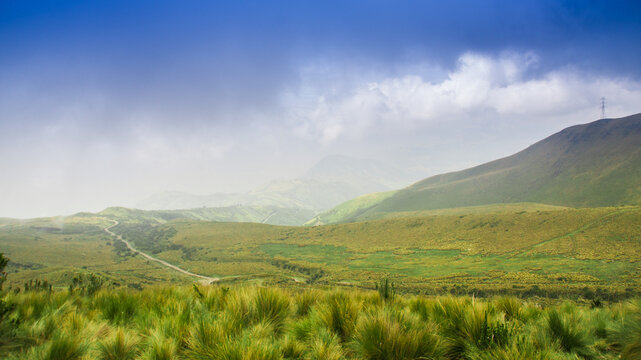 Pichincha, Ecuador September 18, 2017: Panoramic view at the Pichincha volcano, located just to the side of Quito, which wraps around its eastern slopes