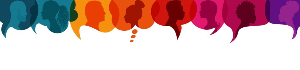 Speech bubble.Silhouette heads people in profile.Diversity people.Talking dialogue and inform.Communicate group of multiethnic people who talk and share ideas.Community.Speak.Social