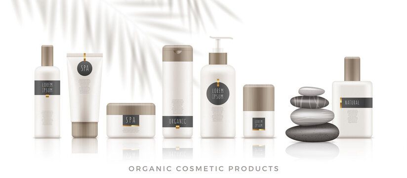 Set of white organic cosmetic packages with bamboo cap on white background. Template of plastic containers - tubes, bottles, jars for shampoo, body lotion, cream, milk, gel, perfume and soap. Vector i