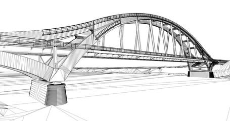 The BIM model of the bridge of wireframe view