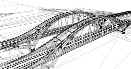 The BIM model of the railway bridges of wireframe view