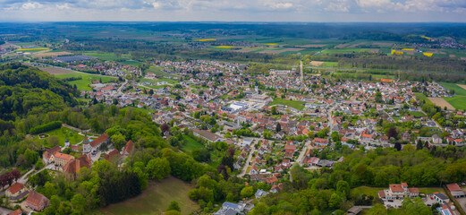 Aerial view of the city altenstadt Iller and castle Illereichen in Germany on a sunny spring day during the coronavirus lockdown.