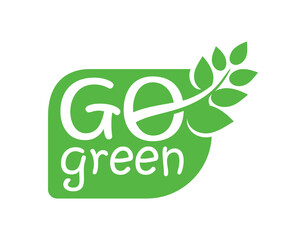 Go Green emblem - eco-friendly stamp for environmental protection organization - isolated vector logo, eco icon, sticker