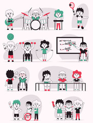 Vector character illustration of disabled kids life scenes set