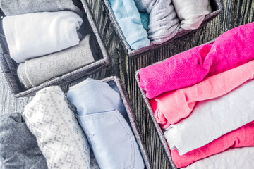Vertical Marie Kondo tidying clothes method