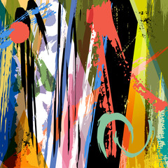 abstract background, with paint strokes, splashes, stripes and triangle