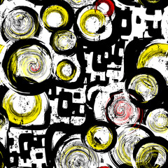 seamless background pattern, with circles, strokes and splashes, black and white