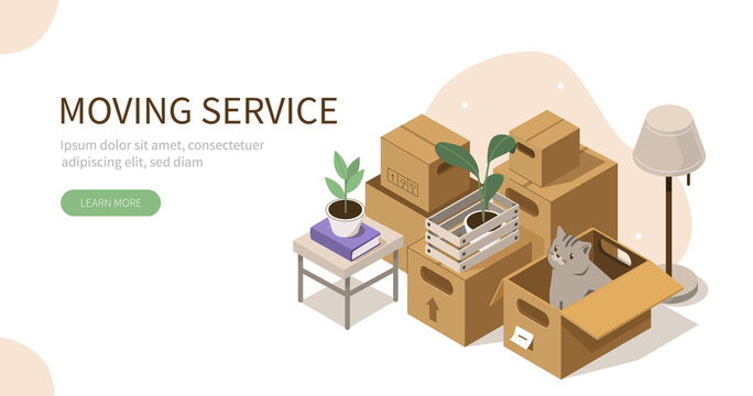 Ready for Transportation Carton Boxes Stack standing on Floor. Different  Personal Stuff packed in Boxes. House Moving and Relocation Services Concept. Flat Isometric Vector Illustration.