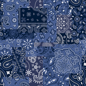Blue bandanna kerchief fabric patchwork vector seamless pattern