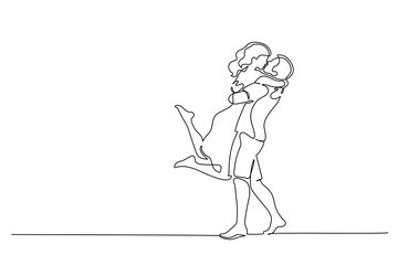 Happy couple hugging and kissing. One line drawing