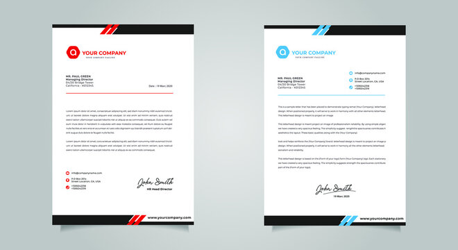Abstract Letterhead Design Modern Business Letterhead Design Template