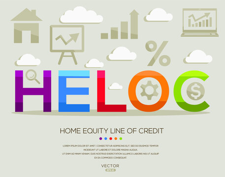 heloc mean (home equity line of credit) ,letters and icons,Vector illustration.