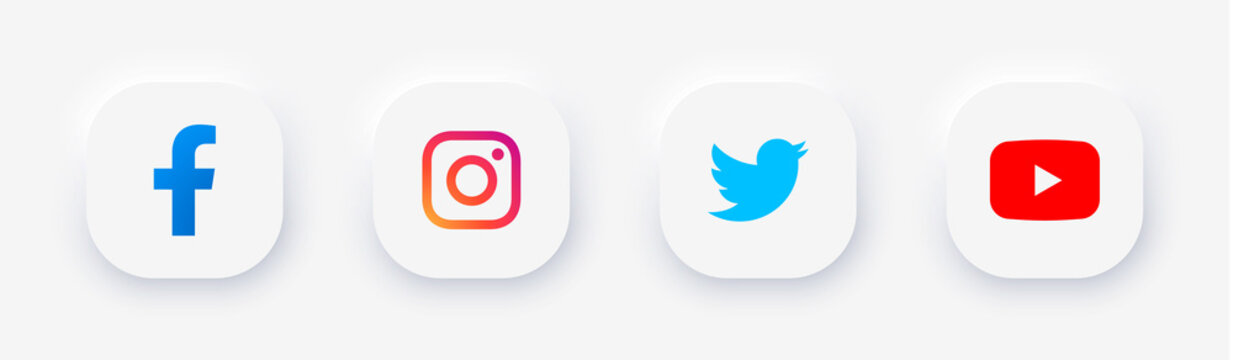 Set popular social app icons with rounded corners Neomorphism design white colors: facebook, instagram, twitter, youtube