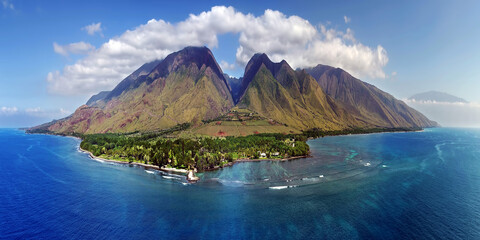 Island of Maui - Beautiful Aerial Panorama with Clouds - Hawaii