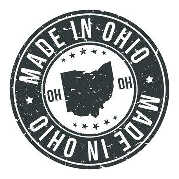 Made in Ohio State USA Quality Original Stamp Design Vector Art Tourism Souvenir Round.