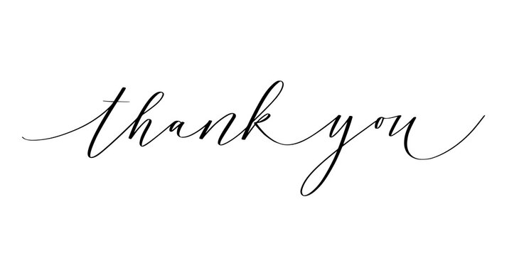 Thank you ink pen modern classy calligraphy design