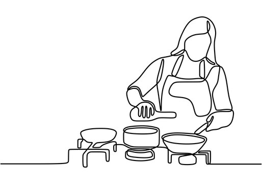 Continuous one line drawing girl cooking food vector illustration. Young woman wearing apron standing on domestic kitchen table full with pan and stove. Happy housewife cooking hobby concept