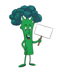 Funny, retro broccoli cartoon character in halftone effect isolated on white holding a blank sign