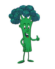 Funny, retro broccoli cartoon character in vintage halftone effect giving thumbs up