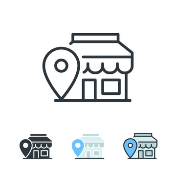 Location Pin,  store point. Local search marketing e-commerce campaign strategy.  Market location based advertising. Local advertising icon.  Vector illustration design on white background. EPS10