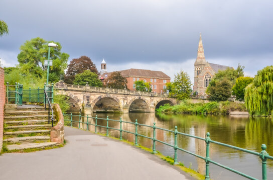Shrewsbury town river scene with bridge and church