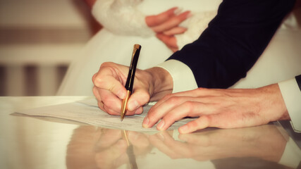 Bride and Groom Signing Marriage Certificate, wedding moments