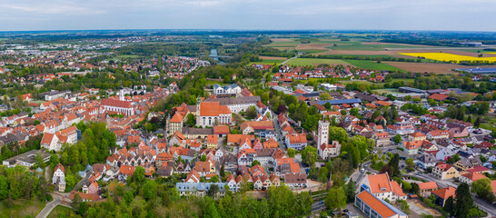 Aerial view of the city Landsberg am Lech in Germany, Bavaria on a sunny spring day during the coronavirus lockdown.