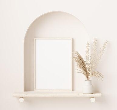 Mock up frame close up in home interior background with plant in vase, 3d render