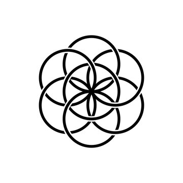 Seed of life, isolated vector symbol of sacred geometry