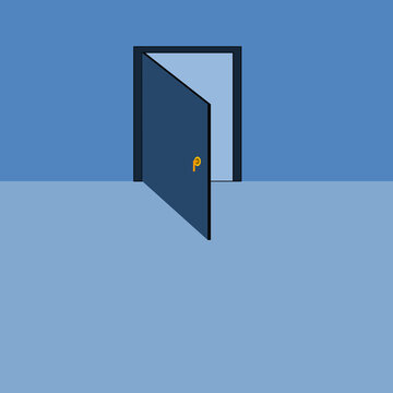 The blue door that is opened from inside the clean light blue room