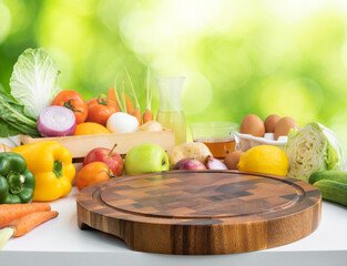 Set of variety vegetable with copy space of chopping board on kitchen counter bar