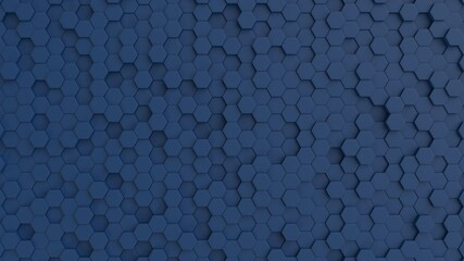 Hexagonal dark navy blue background texture. 3d illustration, 3d rendering