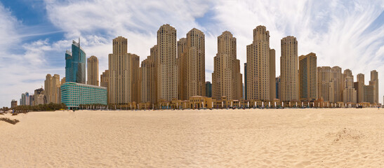 Panoramic picture of apartment buildings in Dubai Marina district