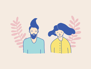 Simple Abstract Happy Couple Vector Illustration. Simple Hand Drawn Man and Woman Isolated on a Pastel Salmon Pink Background. Cute Infantile Style Vector Print with Hipster Couple in Love.