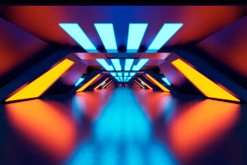 Three dimensional render of futuristic corridor illuminated by blue and orange neon lights