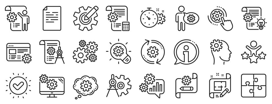 Set of Idea bulb, Dividers tools and Blueprint linear icons. Engineering line icons. Cogwheel, calculate price, mechanical tools. Idea bulb with cog, architect dividers, engineering people. Vector