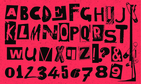 Punk typography vector alphabet and numbers. Type specimen set for grunge font flyers and posters design or ransom note designs.