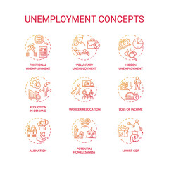 Unemployment type red gradient concept icons set. Potential homelessness. Lower gross domestic production. Economic issue idea thin line RGB color illustrations. Vector isolated outline drawings