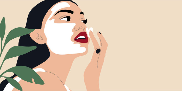 Beautiful young woman applying cosmetic product. Skin care routine vector concept. Woman face and plant.