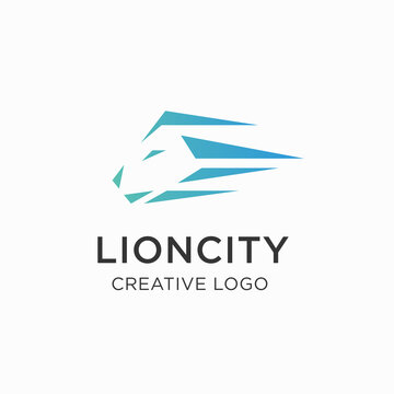 Geometric Lion Head logo design vector