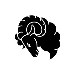 Aries zodiac sign black glyph icon. Horoscope ram silhouette symbol on white space. Astrological birth sign. Horned farm animal, herbivore livestock, domestic cattle. Vector isolated illustration