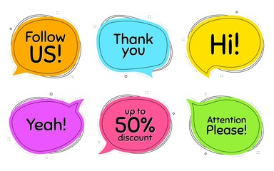 Follow us, 50% discount and attention please. Thought chat bubbles. Thank you, hi and yeah phrases. Sale shopping text. Chat messages with phrases. Colorful texting thought bubbles. Vector