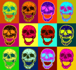 Fototapeta Pop art style colorful skull vector pattern on multiple and repeated colorful psychedelic background. obraz