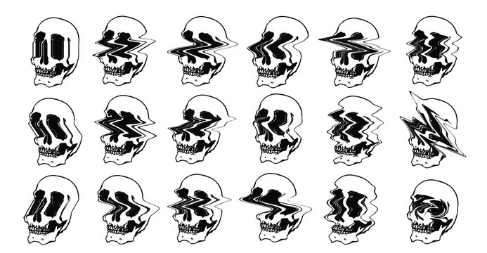 Vector set illustration of 18 different digital glitched skulls in many ways.
